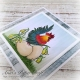 Rooster with Easter eggs stamp